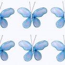 """2"""""""" Blue Mini Glitter Butterfly Butterflies 6pc set - nylon hanging ceiling wall baby nursery room w"""