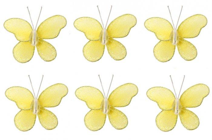 "2"""" Yellow Mini Glitter Butterfly Butterflies 6pc set - nylon hanging ceiling wall baby nursery room"