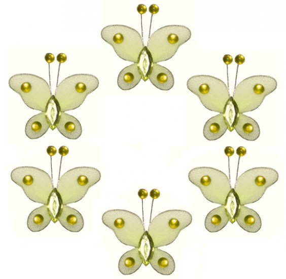 "2"""" Yellow Mini Bead Butterfly Butterflies 6pc set - nylon hanging ceiling wall baby nursery room we"