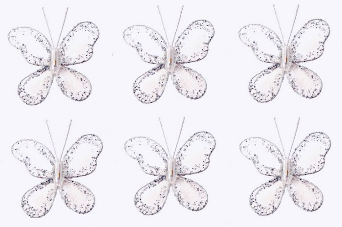 "2"""" White Mini Glitter Butterfly Butterflies 6pc set - nylon hanging ceiling wall baby nursery room"