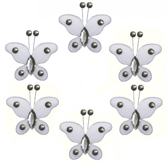 """2"""""""" White Mini Bead Butterfly Butterflies 6pc set - nylon hanging ceiling wall baby nursery room wed"""