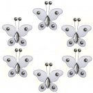 "2"""" White Mini Bead Butterfly Butterflies 6pc set - nylon hanging ceiling wall baby nursery room wed"