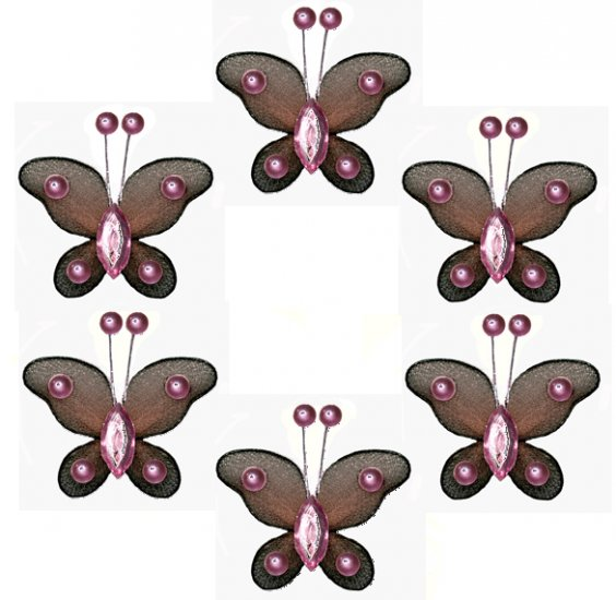 """2"""""""" Brown Pink Mini Bead Butterfly Butterflies 6pc set - nylon hanging ceiling wall baby nursery roo"""