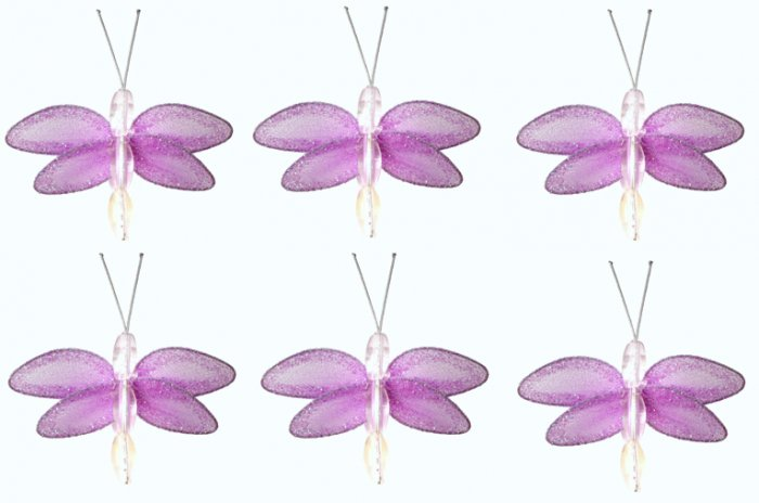 "2"""" Purple Mini Glitter Dragonfly Dragonflies 6pc set - nylon hanging ceiling wall baby nursery room"