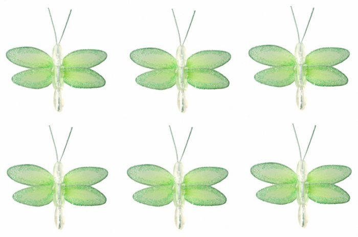 "2"""" Green Mini Glitter Dragonfly Dragonflies 6pc set - nylon hanging ceiling wall baby nursery room"