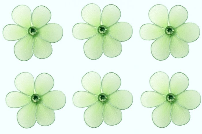 "2"""" Green Mini Daisy Flower Daisies Flowers 6pc set - nylon hanging ceiling wall baby nursery room w"