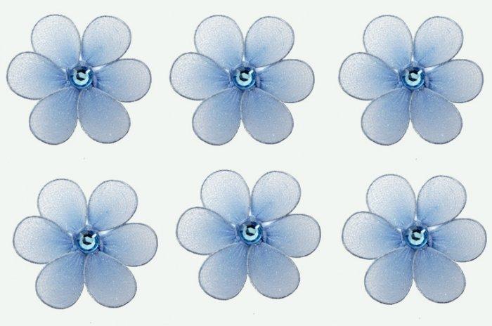 "2"""" Blue Mini Daisy Flower Daisies Flowers 6pc set - nylon hanging ceiling wall baby nursery room we"
