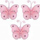 "3"""" Pink Mini Wire Bead Butterfly Butterflies 3pc set - nylon hanging ceiling wall baby nursery room"