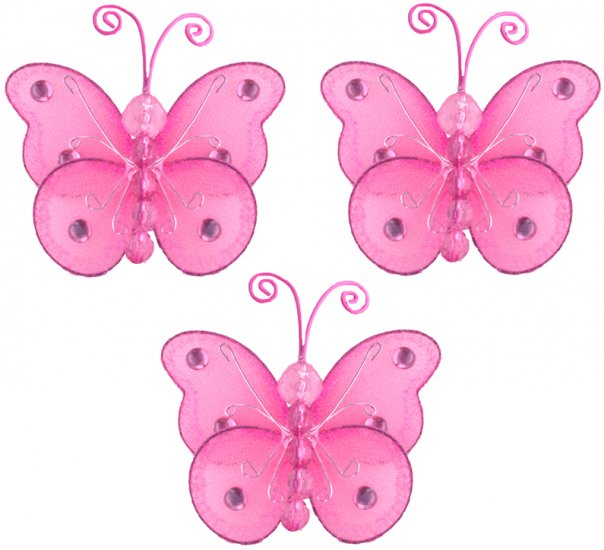 "3"""" Dark Pink (Fuschia) Mini Wire Bead Butterfly Butterflies 3pc set - nylon hanging ceiling wall ba"
