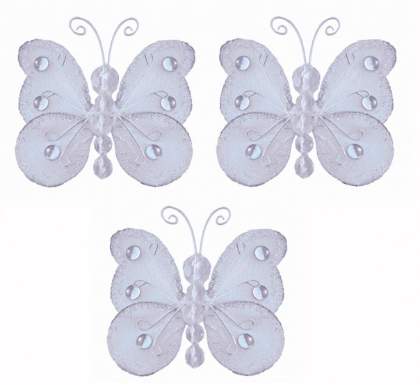 "3"""" White Mini Wire Bead Butterfly Butterflies 3pc set - nylon hanging ceiling wall baby nursery roo"