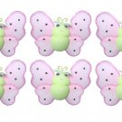 "2"""" Green Pink Smiling Mini Ladybugs 6pc set - nylon hanging ceiling wall baby nursery room wedding"