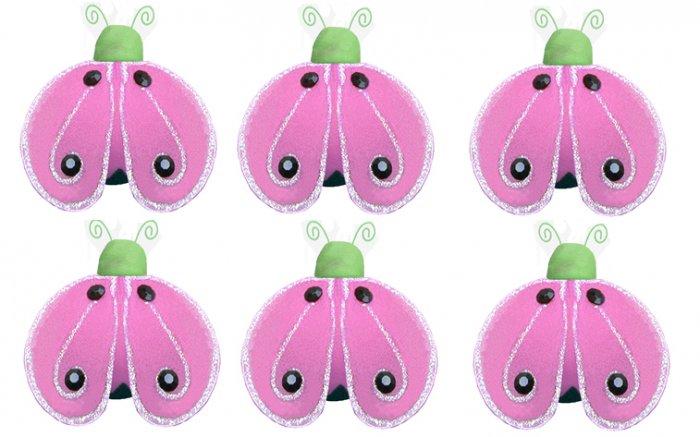 "2"""" Green Pink Mini Shimmer Ladybugs 6pc set - nylon hanging ceiling wall baby nursery room wedding"
