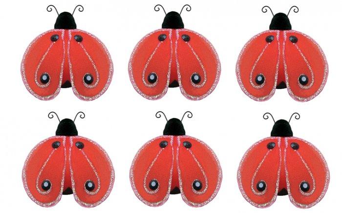 "2"""" Red Black Mini Shimmer Ladybugs 6pc set - nylon hanging ceiling wall baby nursery room wedding d"