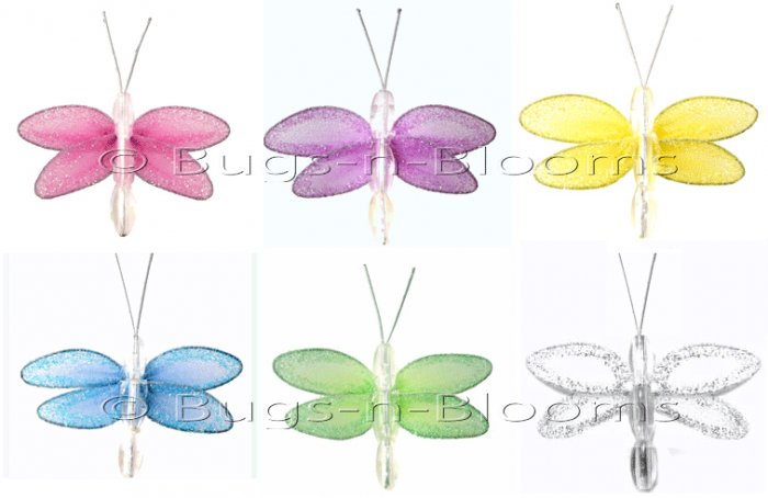 "2"""" Assorted Mini Glitter Dragonfly Dragonflies 6pc set (Purple, Dark Pink (Fuschia), Yellow, Blue,"