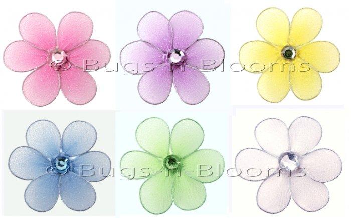 "2"""" Assorted Mini Daisy Flower Daisies Flowers 6pc set (Purple, Dark Pink (Fuschia), Yellow, Blue, G"