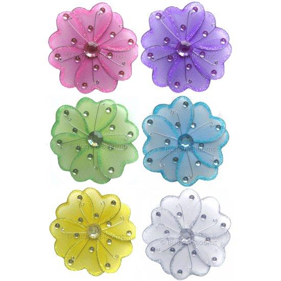 "4"""" Assorted Mini Wire Daisy Flower Daisies Flowers 6pc set (Purple, Dark Pink (Fuschia), Yellow, Bl"