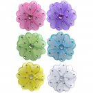 "4"""" Assorted Mini Wire Daisy Flower Daisies Flowers 6pc set (Purple, Dark Pink (Fuschia), Yellow, Bl"