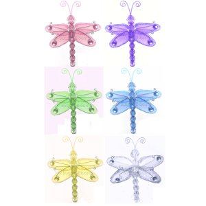 "3"""" Assorted Mini Wire Bead Dragonfly Dragonflies 6pc set (Purple, Pink, Yellow, Blue, Green and Whi"