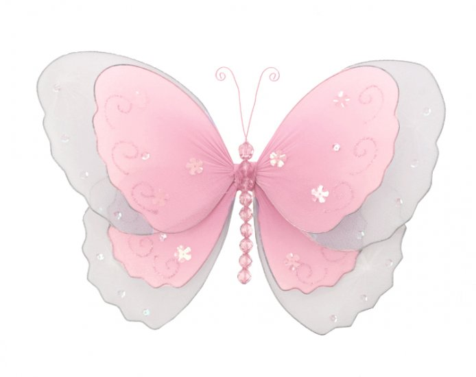 """10"""""""" Pink Multi-Layered Butterfly - nylon hanging ceiling wall baby nursery room wedding decor decor"""