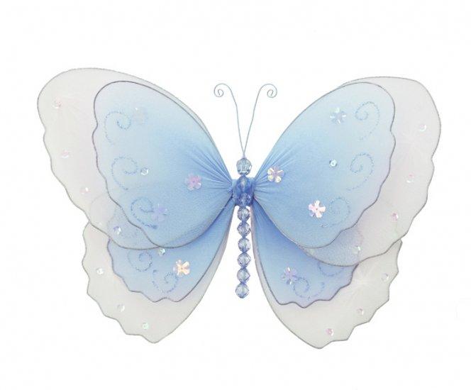 "13"""" Blue Multi-Layered Butterfly - nylon hanging ceiling wall baby nursery room wedding decor decor"