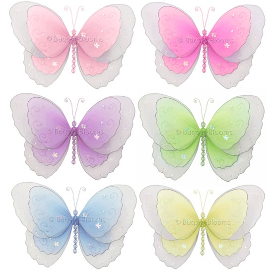 "5"""" Lot Multi-Layered Butterflies 6 piece Set butterfly (Pink, Dark Pink (Fuschia), Purple, Yellow,"