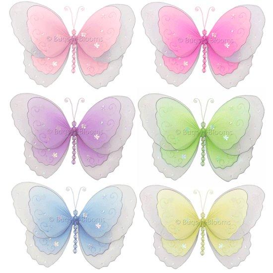 "10"""" Lot Multi-Layered Butterflies 6 piece Set butterfly (Pink, Dark Pink (Fuschia), Purple, Yellow,"