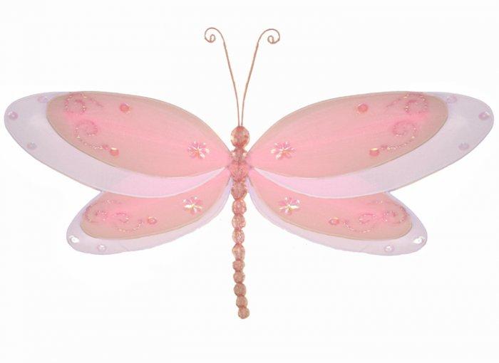 "10"""" Pink Multi-Layered Dragonfly - nylon hanging ceiling wall baby nursery room wedding decor decor"