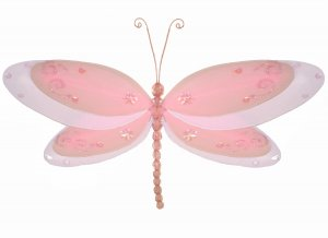 "10"""" Pink Multi-Layered Dragonfly - nylon hanging ceiling wall baby nursery room wedding decor decor"