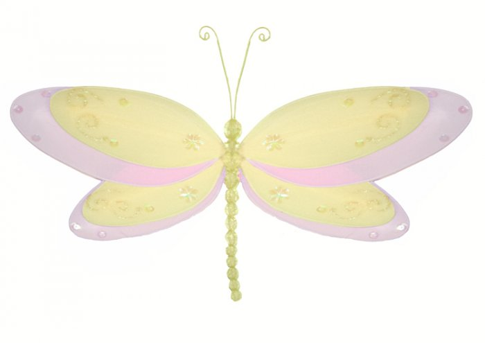 "5"""" Yellow Multi-Layered Dragonfly - nylon hanging ceiling wall baby nursery room wedding decor deco"