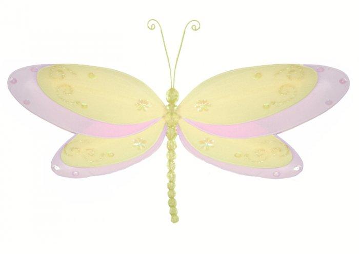 "13"""" Yellow Multi-Layered Dragonfly - nylon hanging ceiling wall baby nursery room wedding decor dec"