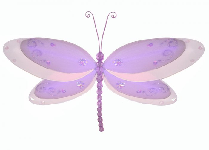 "5"""" Purple Multi-Layered Dragonfly - nylon hanging ceiling wall baby nursery room wedding decor deco"
