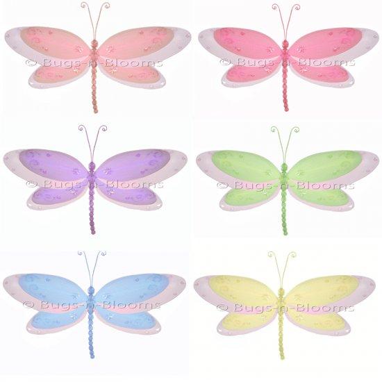 "5"""" Lot Multi-Layered Dragonflies 6 piece Set dragonfly (Pink, Dark Pink (Fuschia), Purple, Yellow,"
