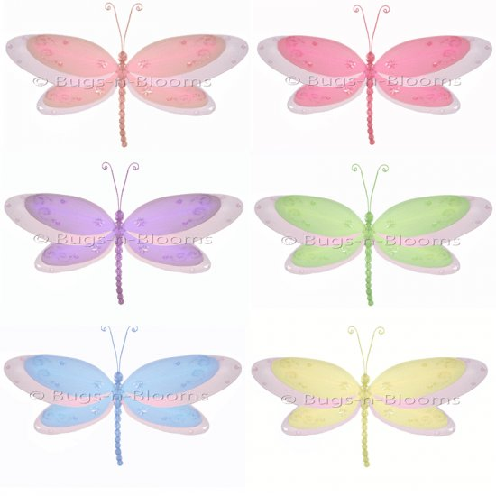 "13"""" Lot Multi-Layered Dragonflies 6 piece Set dragonfly (Pink, Dark Pink (Fuschia), Purple, Yellow,"