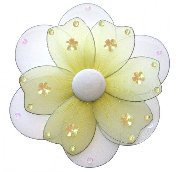 "8"""" Yellow Multi Layered Daisy Flower - nylon hanging ceiling wall baby nursery room wedding decor d"