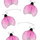 "24"""" Pink Glitter Ladybug Mobile - nylon hanging ceiling wall baby nursery room wedding decor decora"