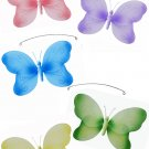"24"""" Pink Purple Yellow Blue Green Swirl Butterfly Mobile - nylon hanging ceiling wall baby nursery"