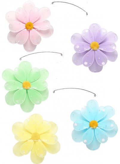 """24"""""""" Pink Purple Yellow Blue Green Sequined Flower Mobile - nylon hanging ceiling wall baby nursery"""
