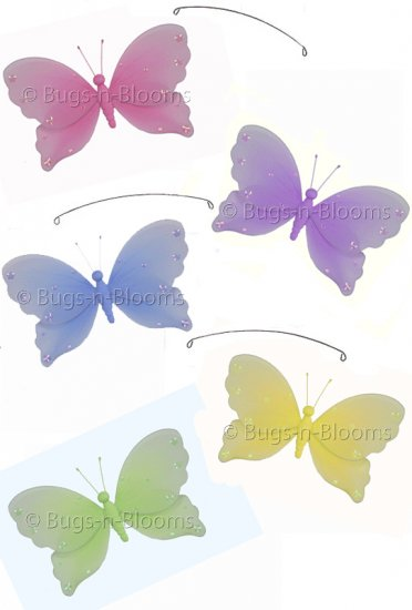 "24"""" Pink Purple Yellow Blue Green Jewel Butterfly Mobile - nylon hanging ceiling wall baby nursery"