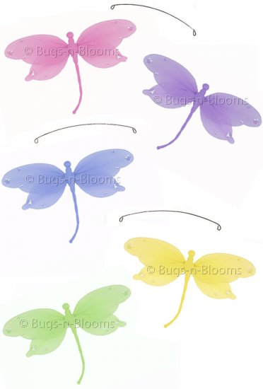 "24"""" Pink Purple Yellow Blue Green Jewel Dragonfly Mobile - nylon hanging ceiling wall baby nursery"