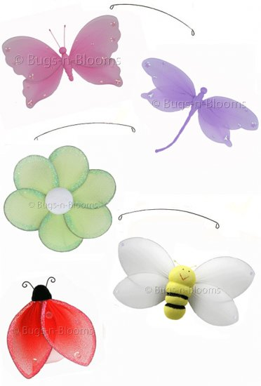 """24"""""""" Jewel Butterfly Dragonfly Ladybug Flower Bee Mobile - nylon hanging ceiling wall baby nursery r"""