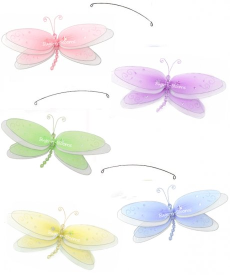 """24"""""""" Pink Purple Yellow Blue Green Multi Layered Dragonfly Mobile - nylon hanging ceiling wall baby"""