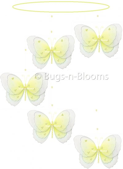 """24"""""""" Yellow Multi Layered Spiral Butterfly Mobile - nylon hanging ceiling wall baby nursery room wed"""