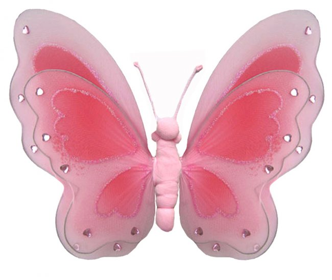"""13"""""""" Pink Painted Layered Butterfly - nylon hanging ceiling wall baby nursery room wedding decor dec"""