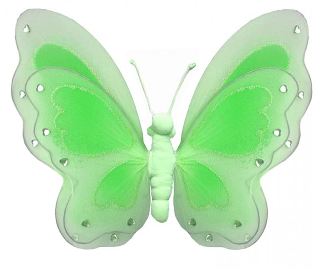 """13"""""""" Green Painted Layered Butterfly - nylon hanging ceiling wall baby nursery room wedding decor de"""