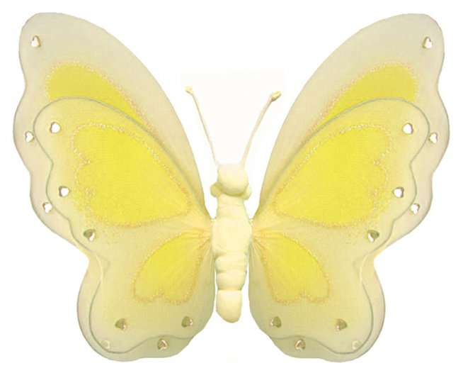 """13"""""""" Yellow Painted Layered Butterfly - nylon hanging ceiling wall baby nursery room wedding decor d"""