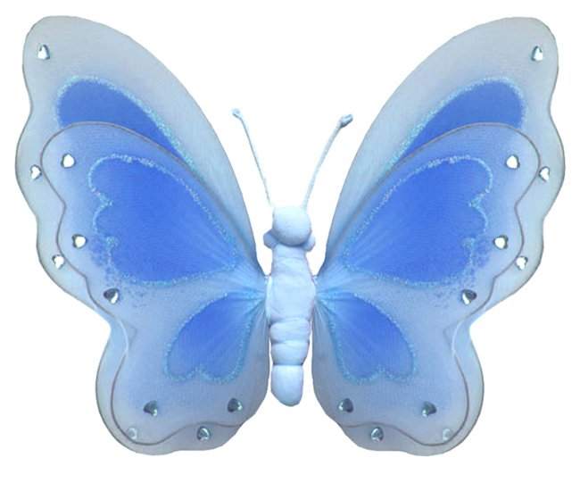 """13"""""""" Blue Painted Layered Butterfly - nylon hanging ceiling wall baby nursery room wedding decor dec"""