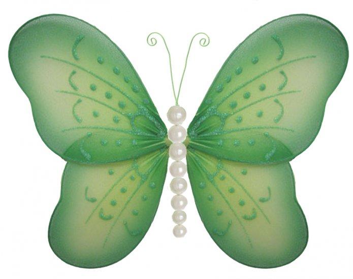 "5"""" Green Pearl Butterfly - nylon hanging ceiling wall baby nursery room wedding decor decoration de"