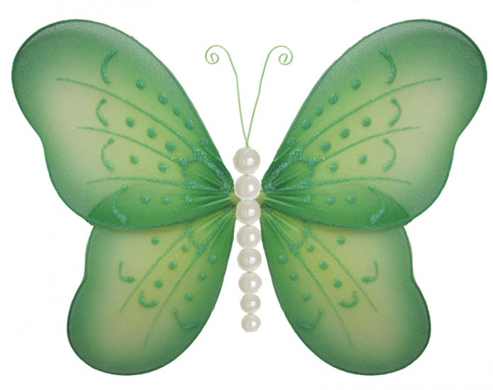 """10"""""""" Green Pearl Butterfly - nylon hanging ceiling wall baby nursery room wedding decor decoration d"""