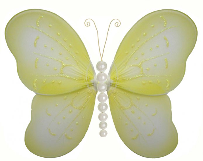 "5"""" Yellow Pearl Butterfly - nylon hanging ceiling wall baby nursery room wedding decor decoration d"