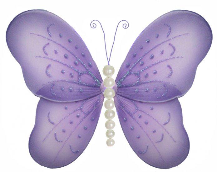 "10"""" Purple Pearl Butterfly - nylon hanging ceiling wall baby nursery room wedding decor decoration"